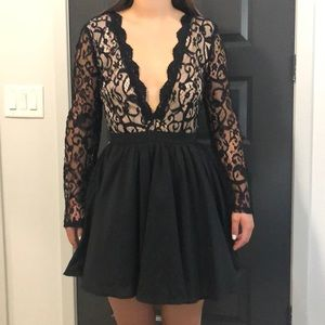 Missguided V Neck Lace Fit and Flare Dress